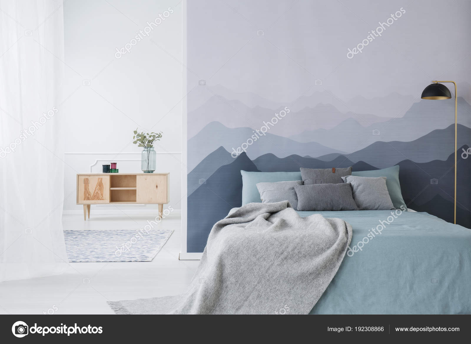 blauw en grijs slaapkamer interieur stockfoto