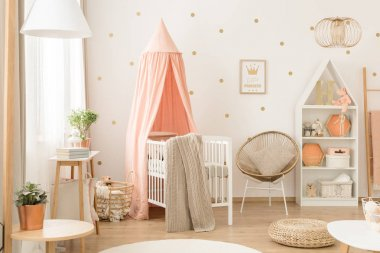 White and pink scandinavian nursery