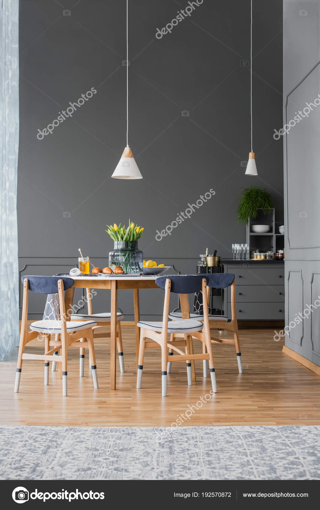 Pendant Light Above Dining Table Stock Photo Photographeeeu - Light above kitchen table