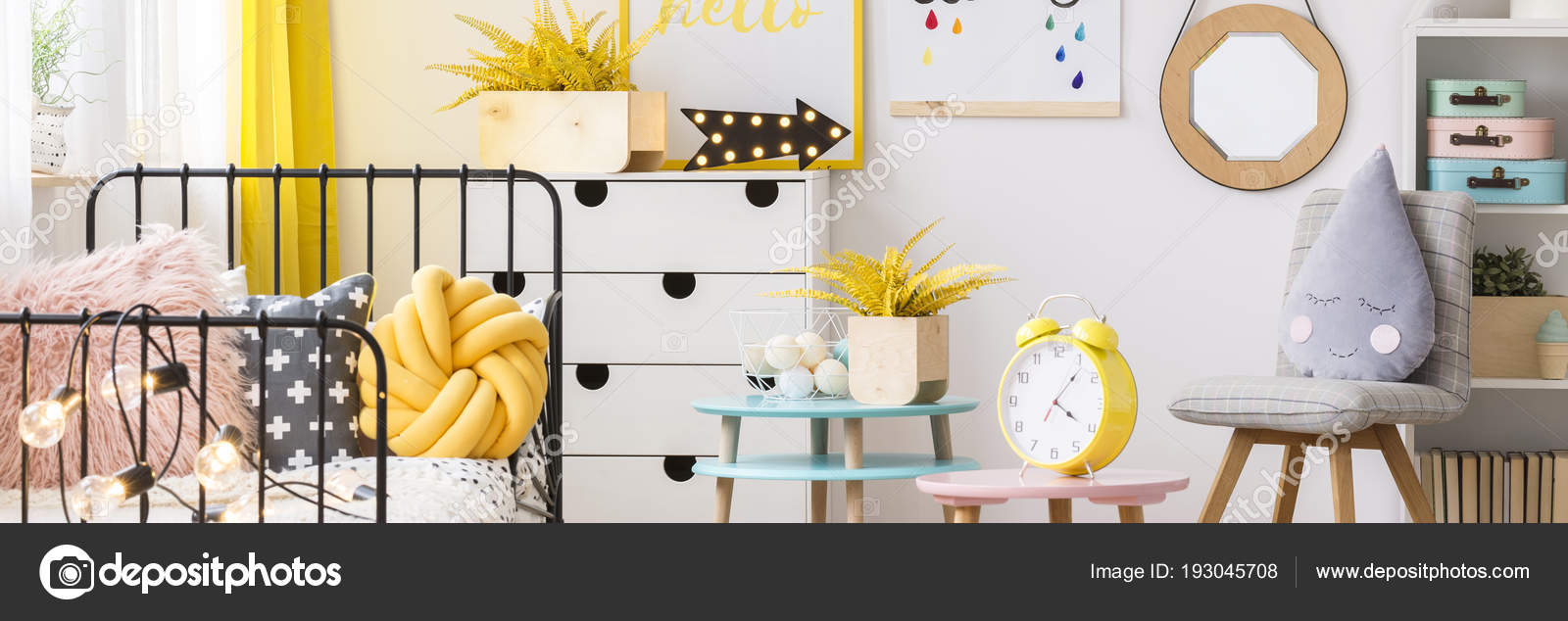 Yellow Flowers Clock Table Cozy Bedroom Interior Grey Chair Mockup
