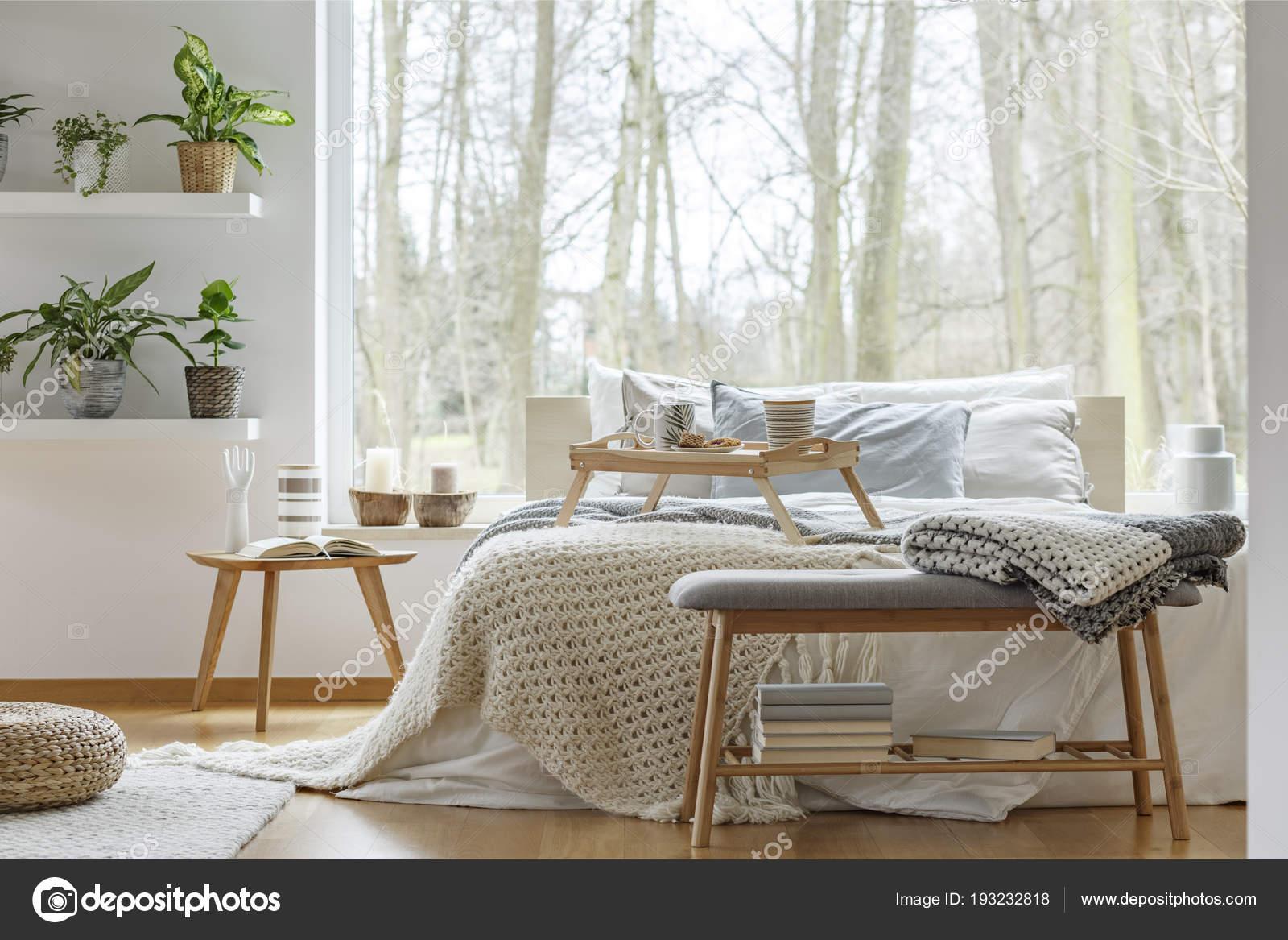Koc ławeczce Drewniane Książek Przed łóżko Sypialni