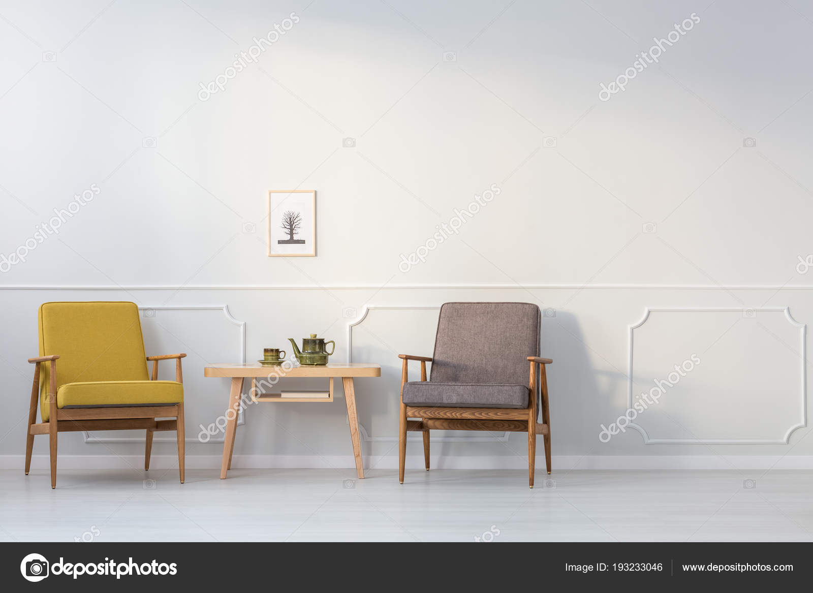 Wooden Table Yellow Grey Armchair White Wall Poster Living Room