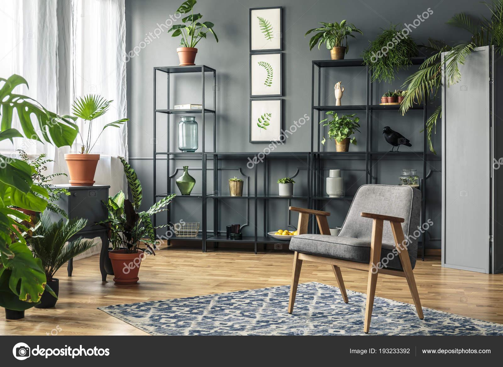 Donkere Vintage Woonkamer : Elegante grijs woonkamer interieur met planten metalen rekken