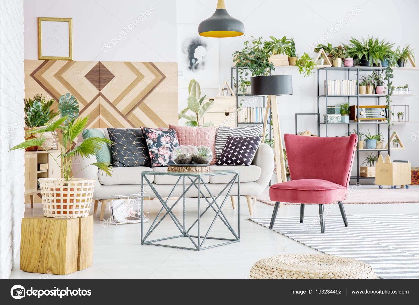 Sofa Con Almohadones Estampados Interior Luminoso Salon Con Libros