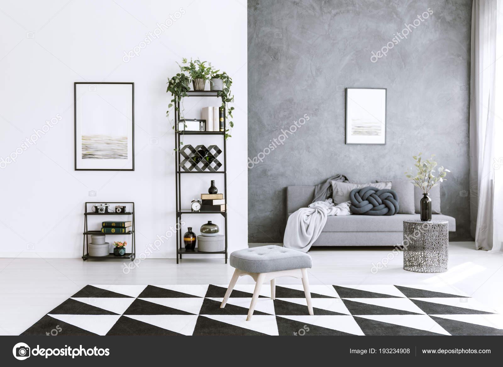 Tapijt In Woonkamer : Grijs woonkamer interieur met asymmetrische tapijt metalen kast