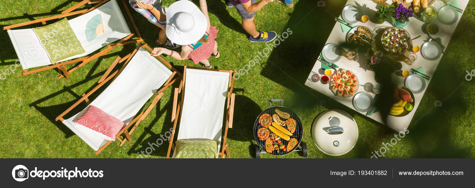 Awesome Garden Table Lawn Chairs Prepared Barbeque Party Stock Interior Design Ideas Pimpapslepicentreinfo