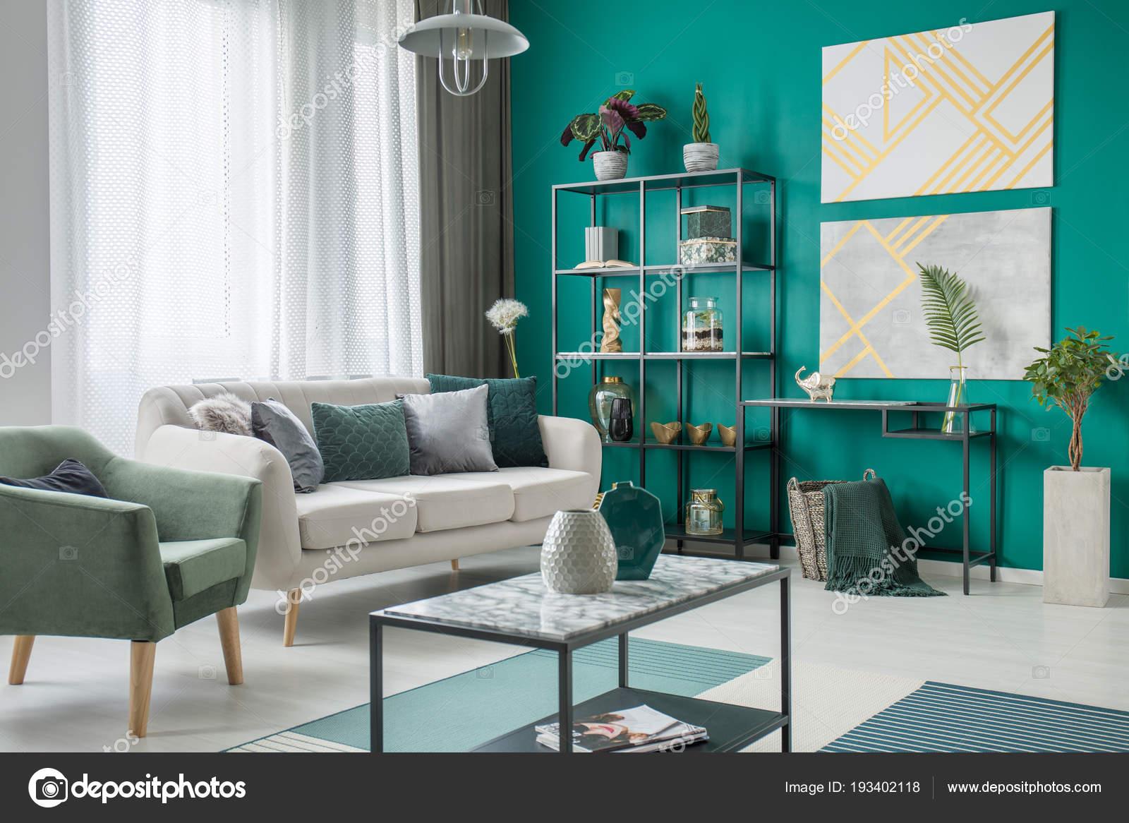 Bright Sofa Many Pillows Standing Next Green Armchair Living Room U2014 Stock  Photo