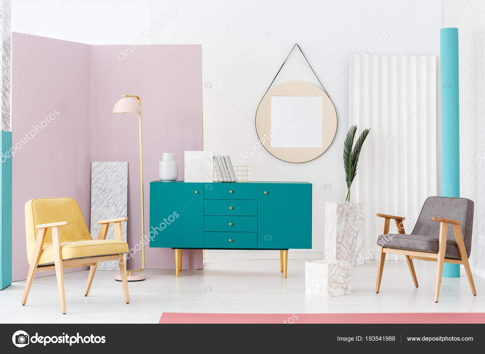 Stylish Furniture Campaign Idea Modern Living Room Interior Pastel ...