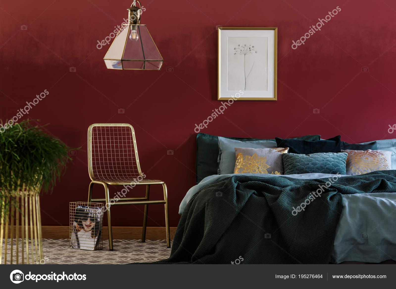 Magnificent Gold Chair In Bedroom Interior Stock Photo C Photographee Machost Co Dining Chair Design Ideas Machostcouk