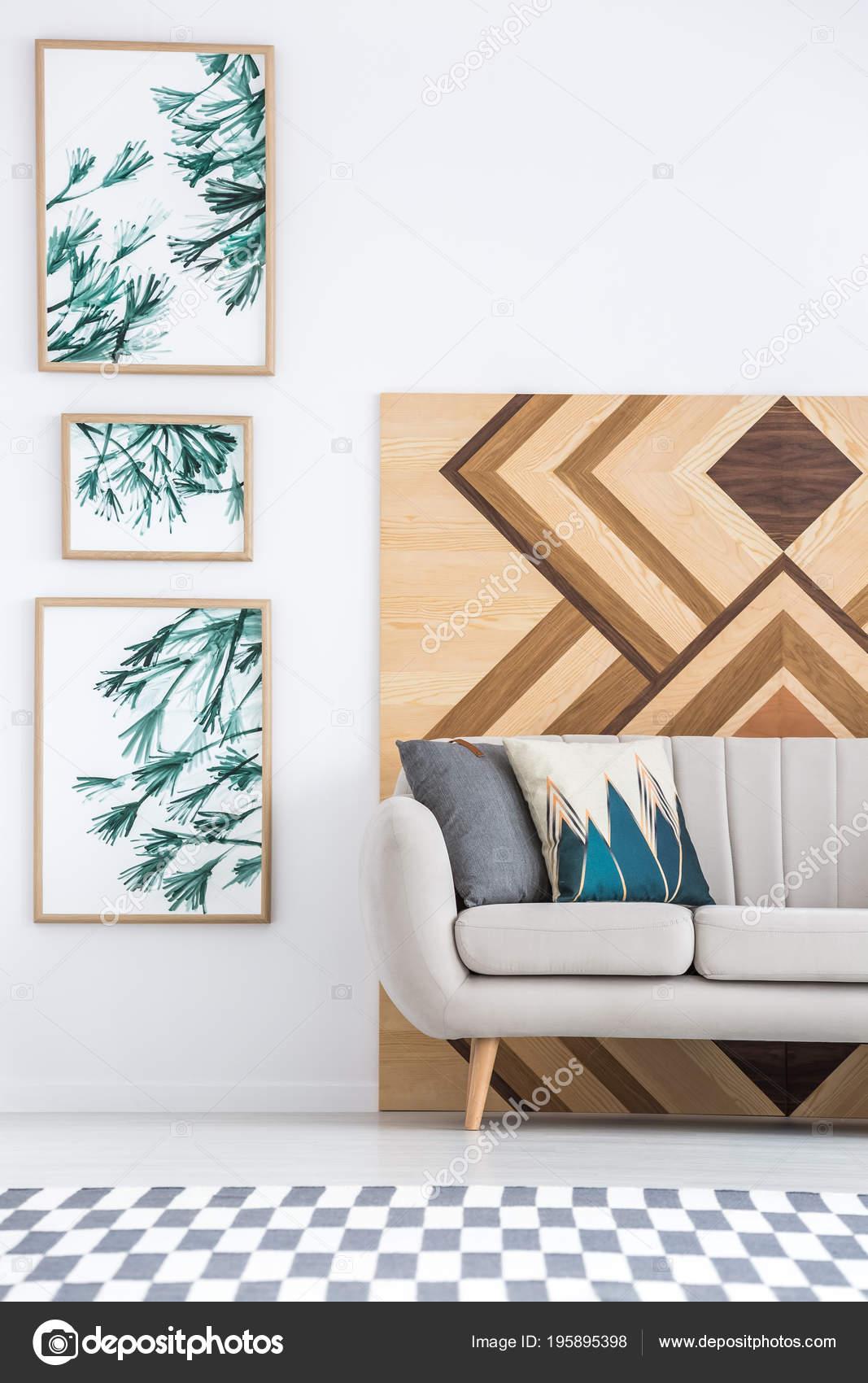 Beige Sofa Geometric Board Living Room Interior Patterned Carpet Gallery Stock Photo C Photographee Eu 195895398