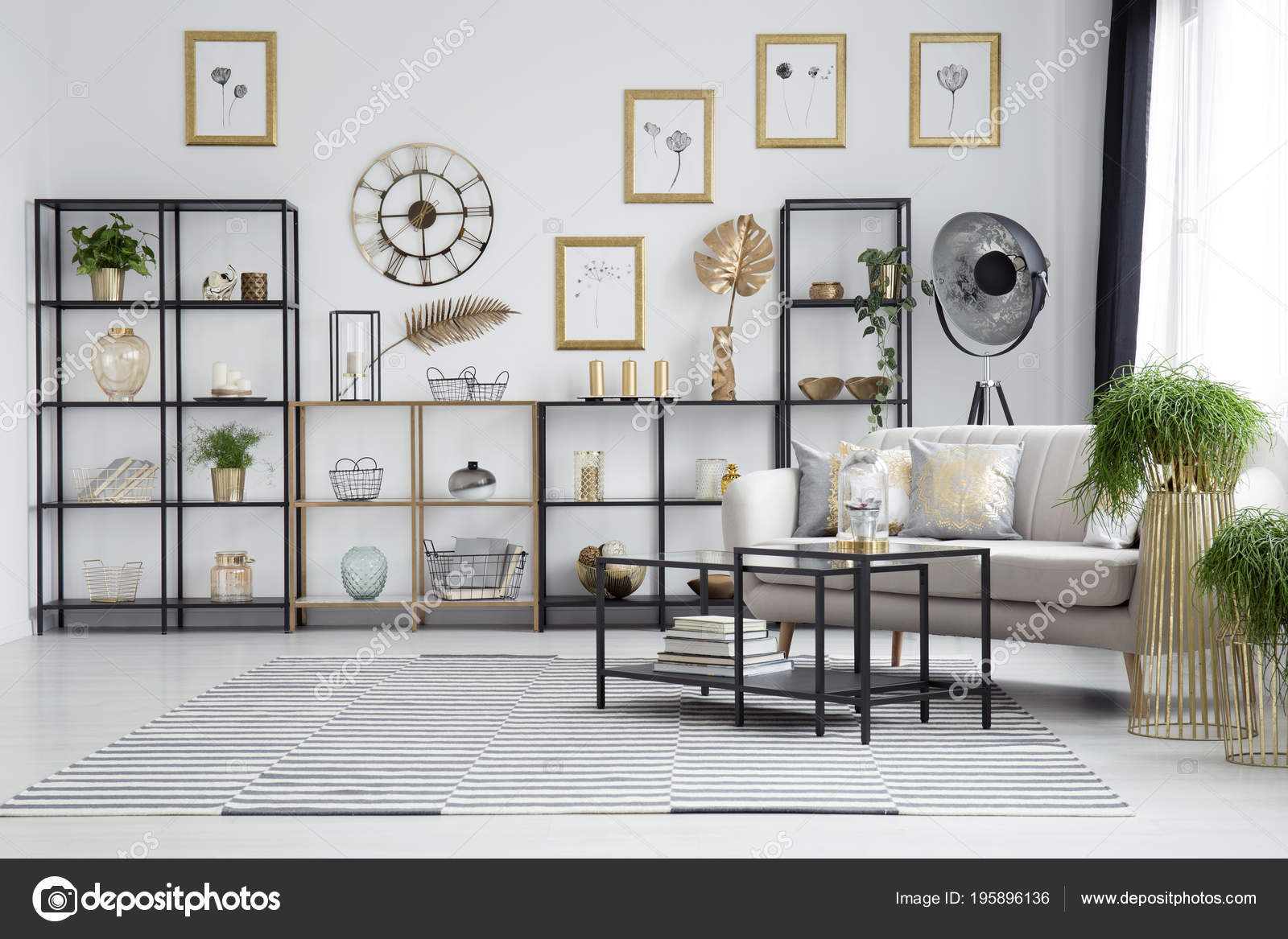 Black Table Next Couch Plants Living Room Interior Gold Clock ...