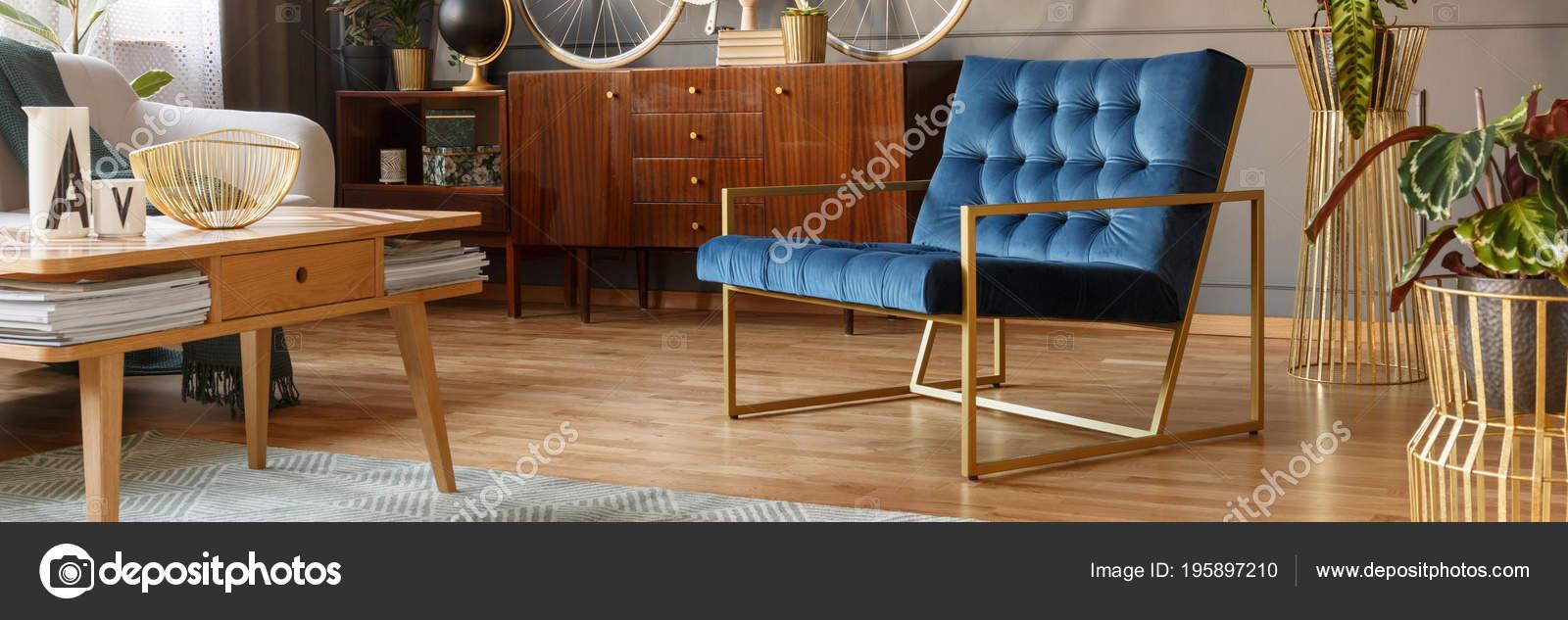 Royal Blue Armchair Gold Frame Standing Vintage Living Room