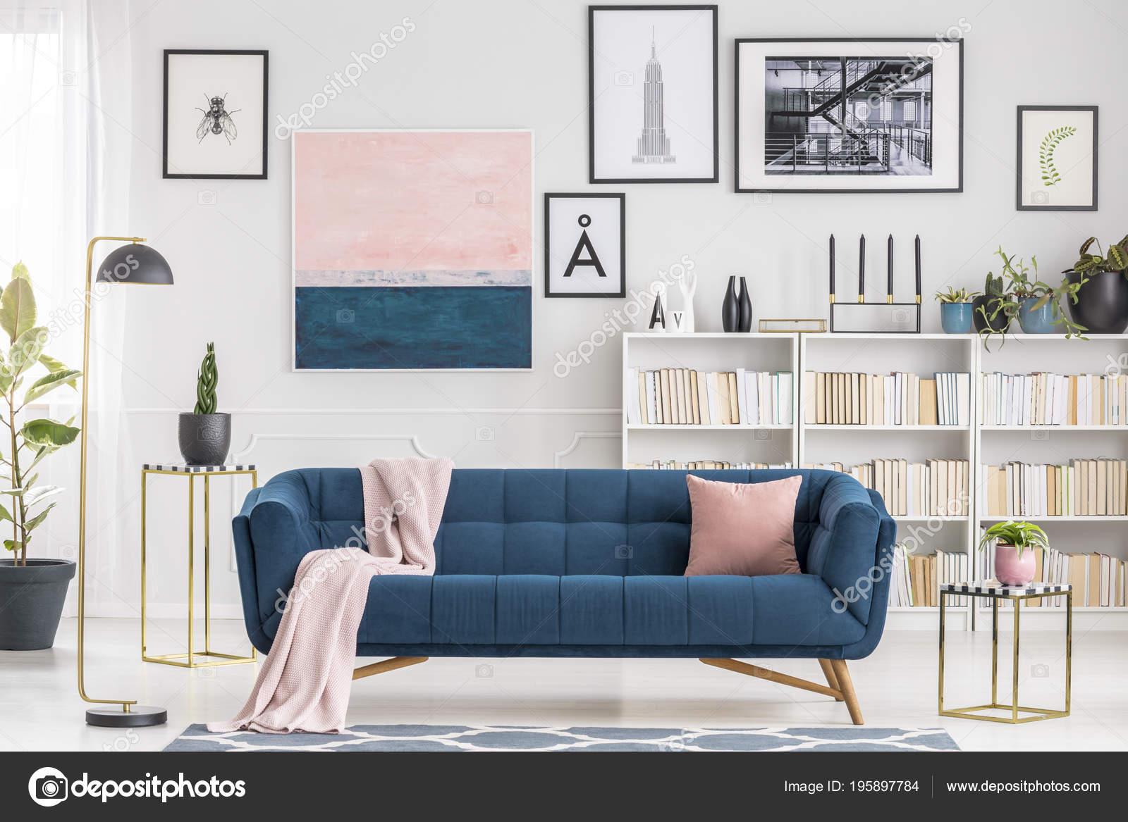 Pink Blanket Navy Blue Sofa Modern Living Room Interior ...