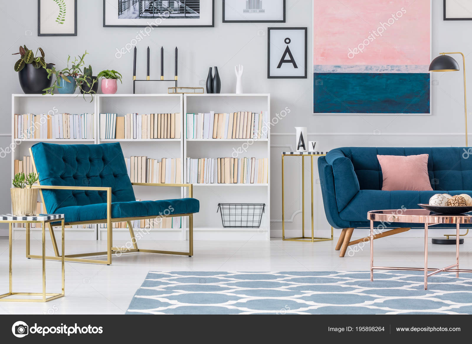 Navy Blue Armchair Bookshelf Living Room Interior Couch Copper Table Stock Photo
