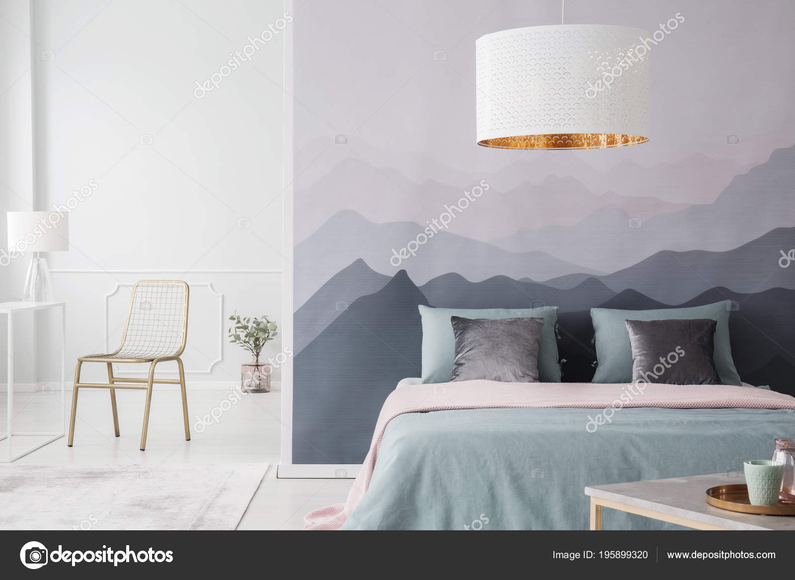 White Lamp Pink Green Bed Spacious Bedroom Interior Gold ...
