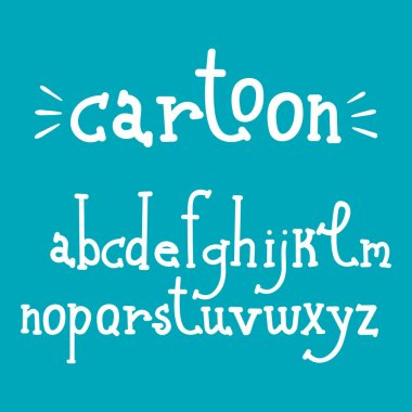 Hand drawn alphabet. Cartoon style vector illustration for individual products.
