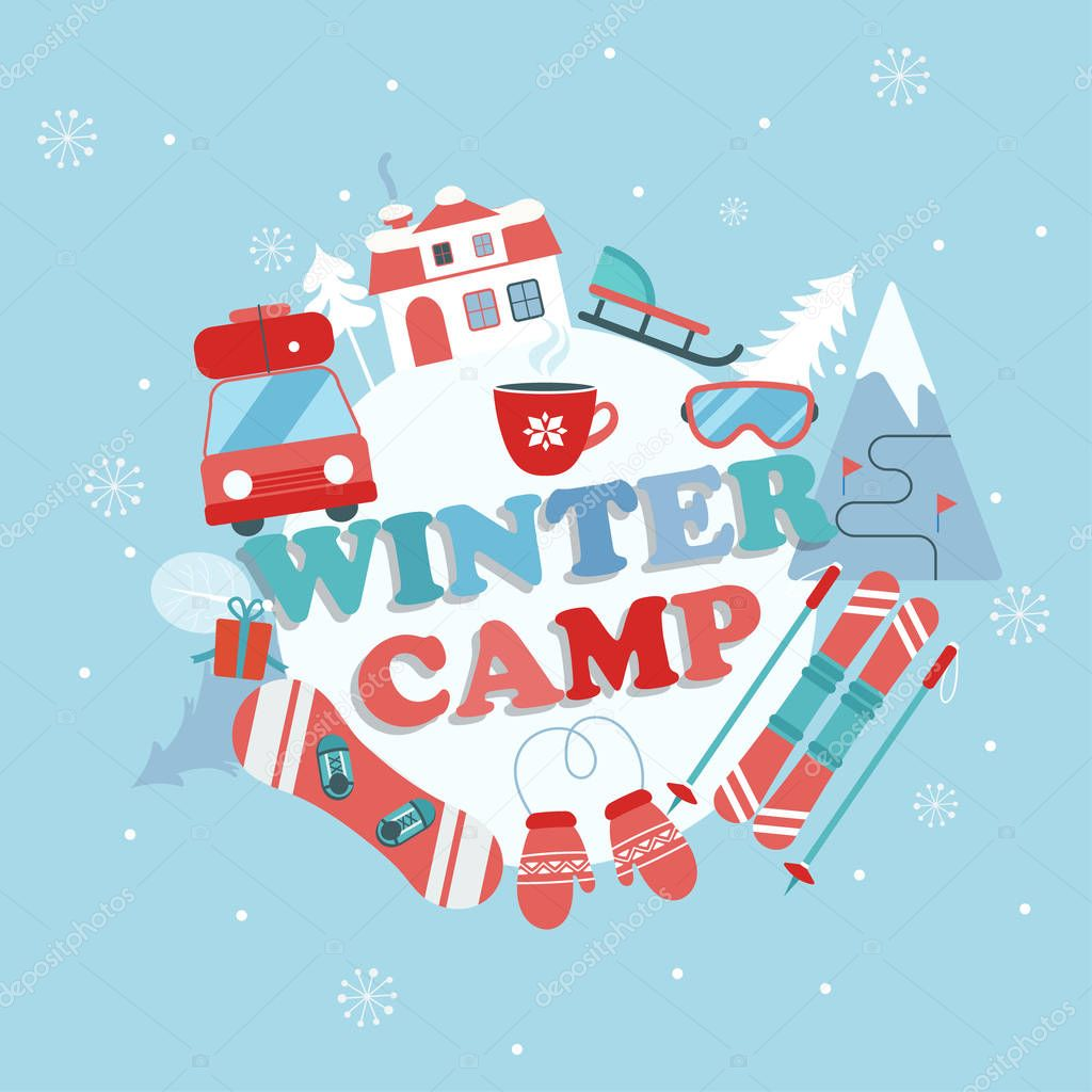 Christmas Holiday and Travel themed Camp poster in flat style , Winter camp banner vector illustration. stock vector