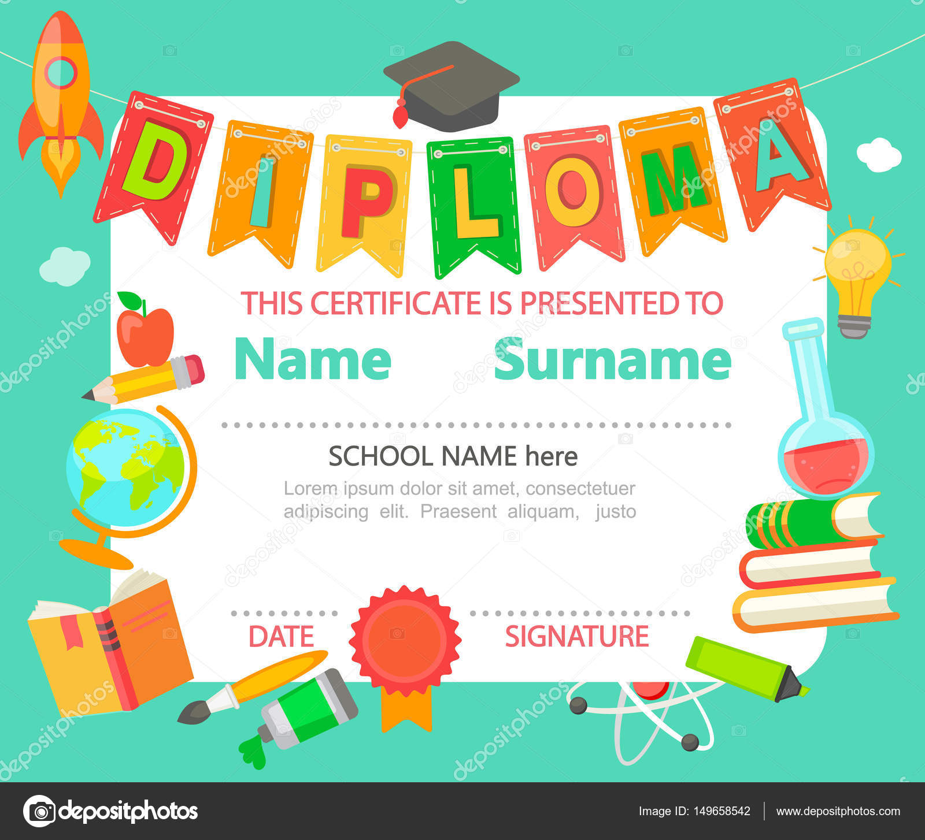 Plantilla de certificado de Diploma niños — Vector de stock © tandaV ...