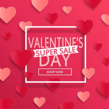 Valentines day super sale background, poster template. Pink abstract background with hearts ornaments. February 14.Vector illustration. clip art vector