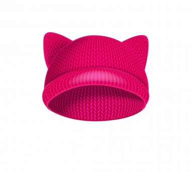 Pink knitted hat with cat ears.