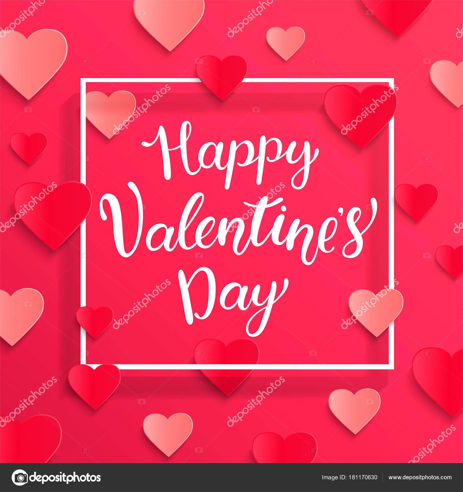 Karte Für Happy Valentines Day Mit Schriftzug Weiß Quadratischen ...