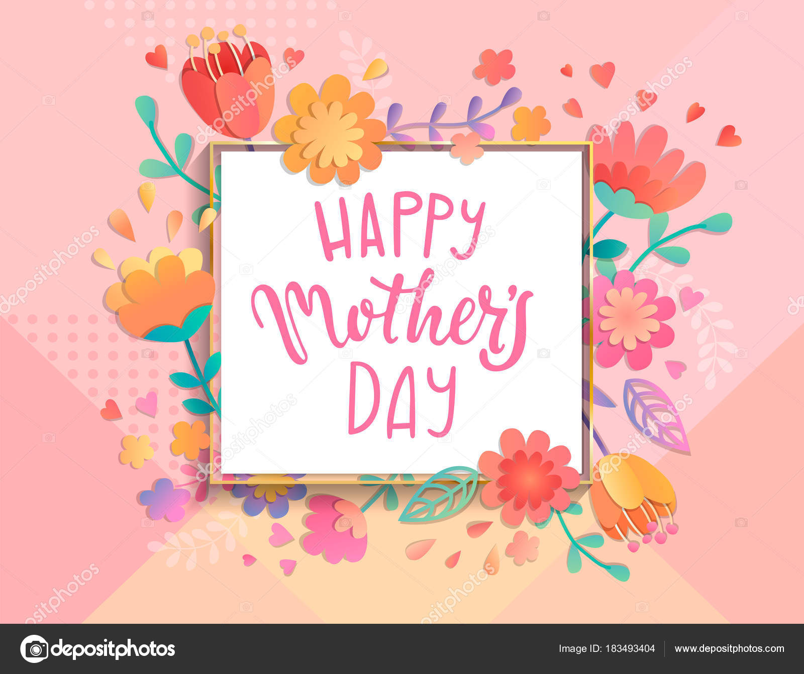 Card Happy Mothers Day Square Frame Pastel Colors Beautiful Flowers ...