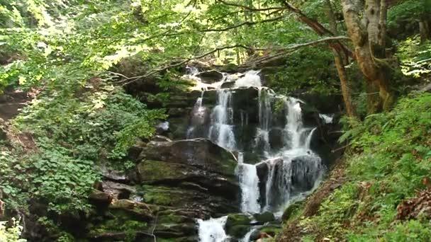 Gebirgsfluss Wasser fließt auf den Steinen. Wald. Splatter