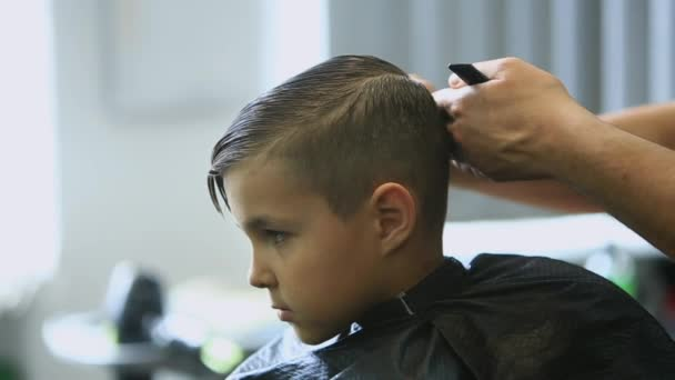 Little Boy Getting Haircut By Barber While Sitting In Chair At