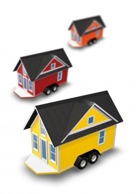 3D Rendered Illustration of 3 tiny houses on trailers.