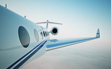 Closeup of realistic photo white, luxury generic design private jet flying over the clouds.Modern airplane and empty blue sky on background. Business travel concept. Horizontal. 3d rendering stock vector