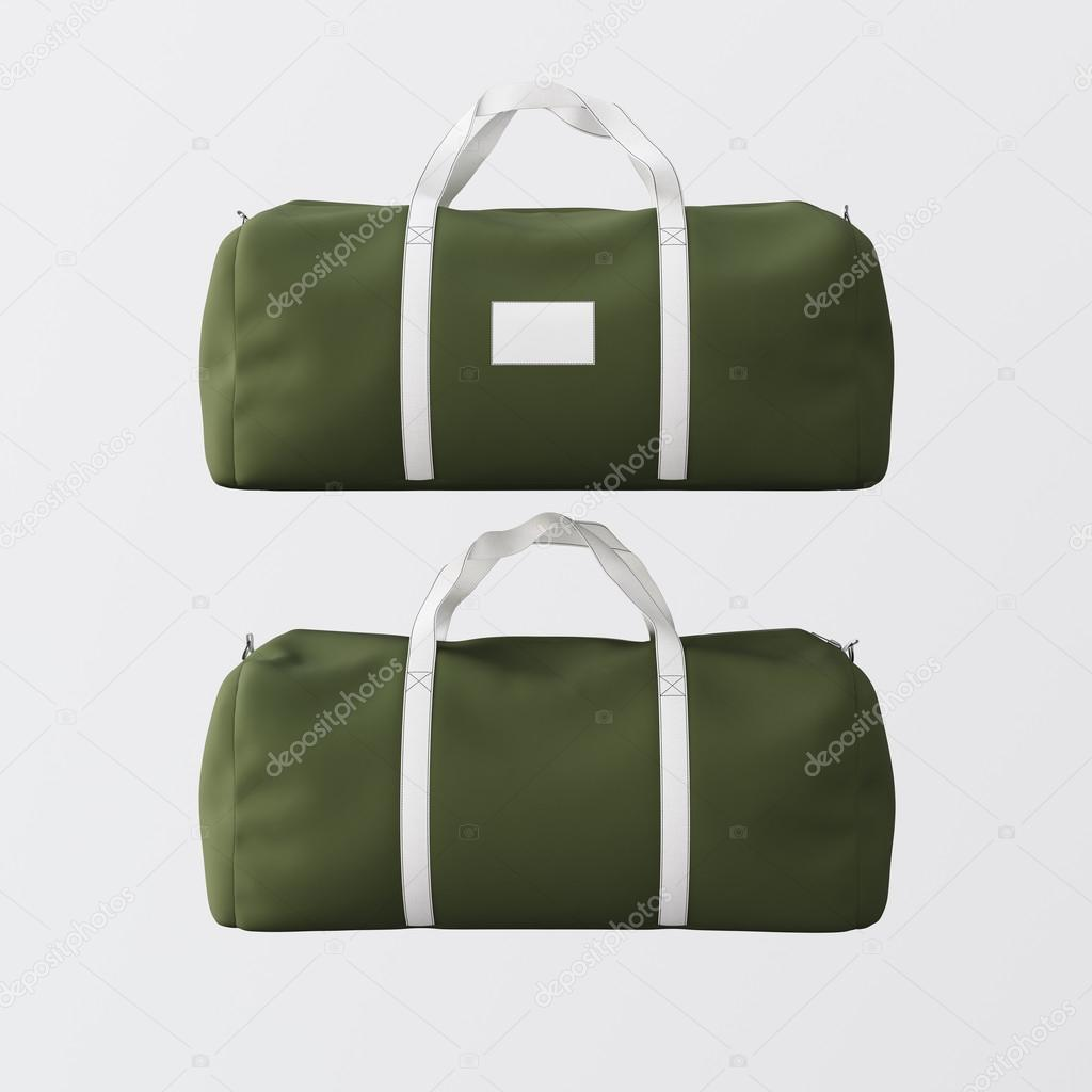 e5b117681fa6 Sport fashion bag of green color with white handle isolated at the clean  background.Highly detailed texture material in square photo.