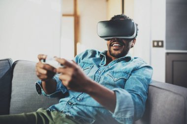 african man enjoying virtual glasses