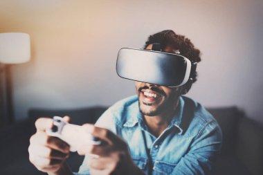 African man enjoying virtual reality