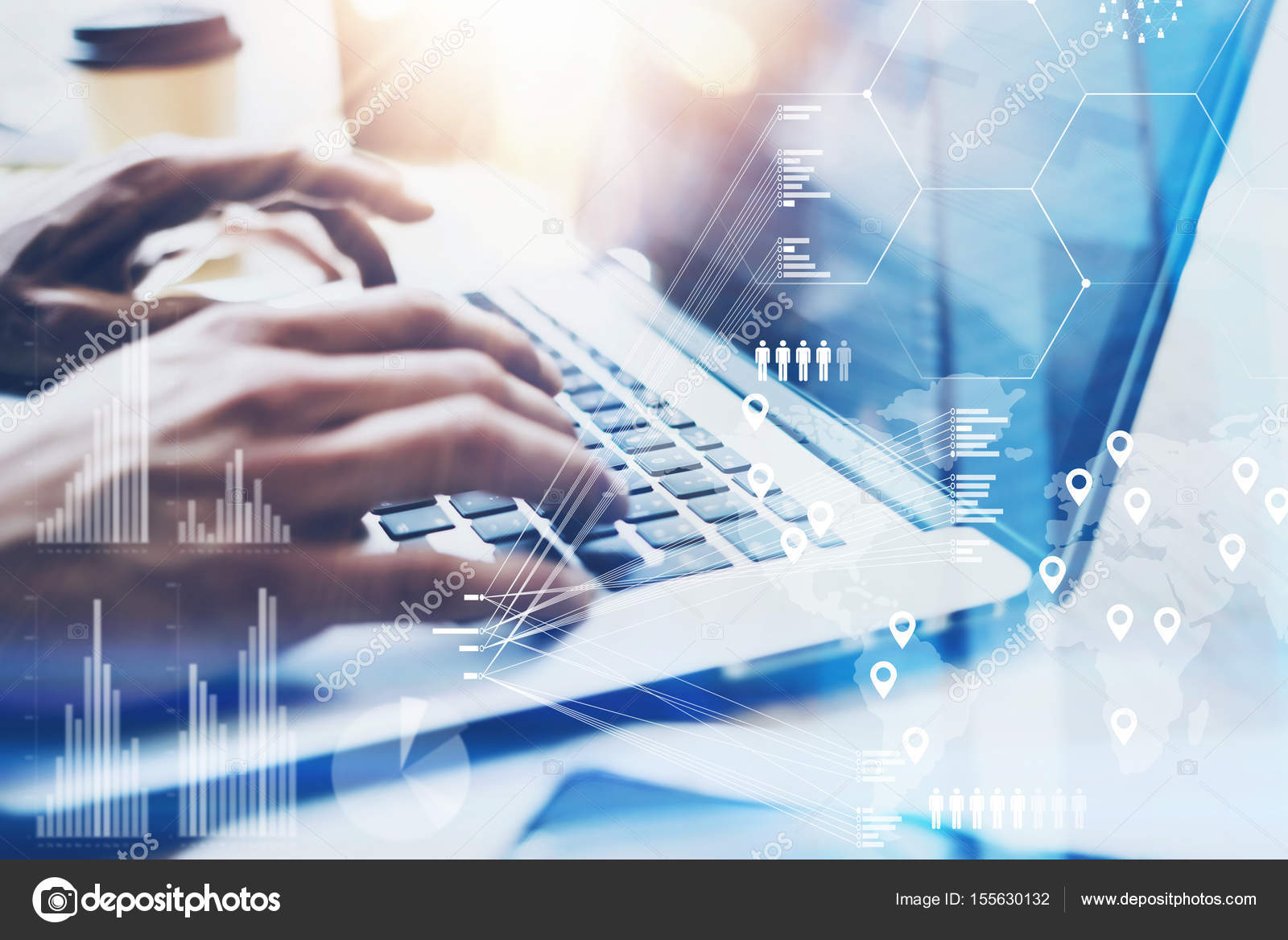 Closeup View Of Male Hand Typing On Laptop Keyboardbusinessman Keyboard Diagram Working At Office Modern Notebookconcept Digital Diagramgraph Interfacesvirtual