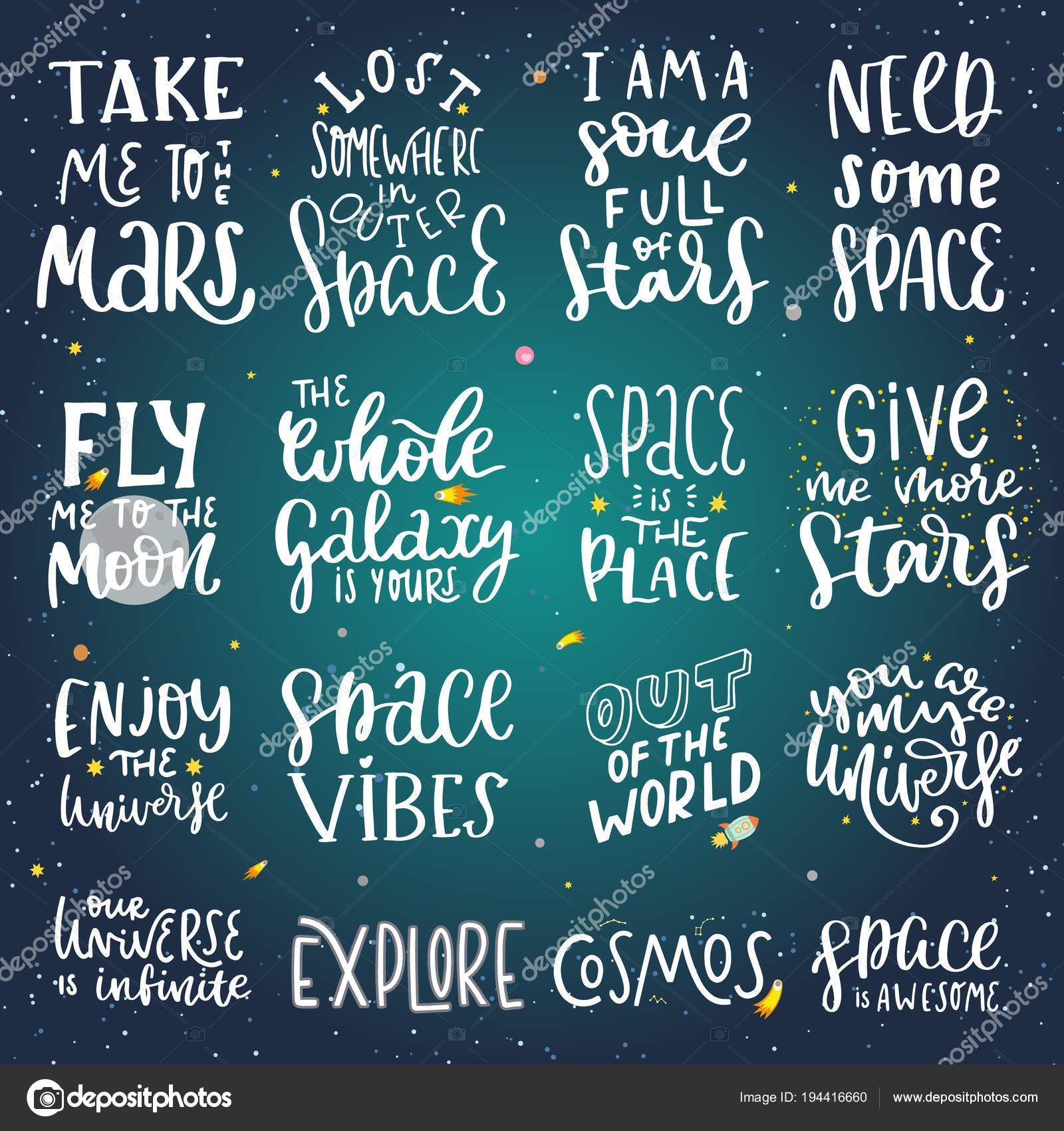 Space lettering quotes — Stock Vector © Maryart #194416660