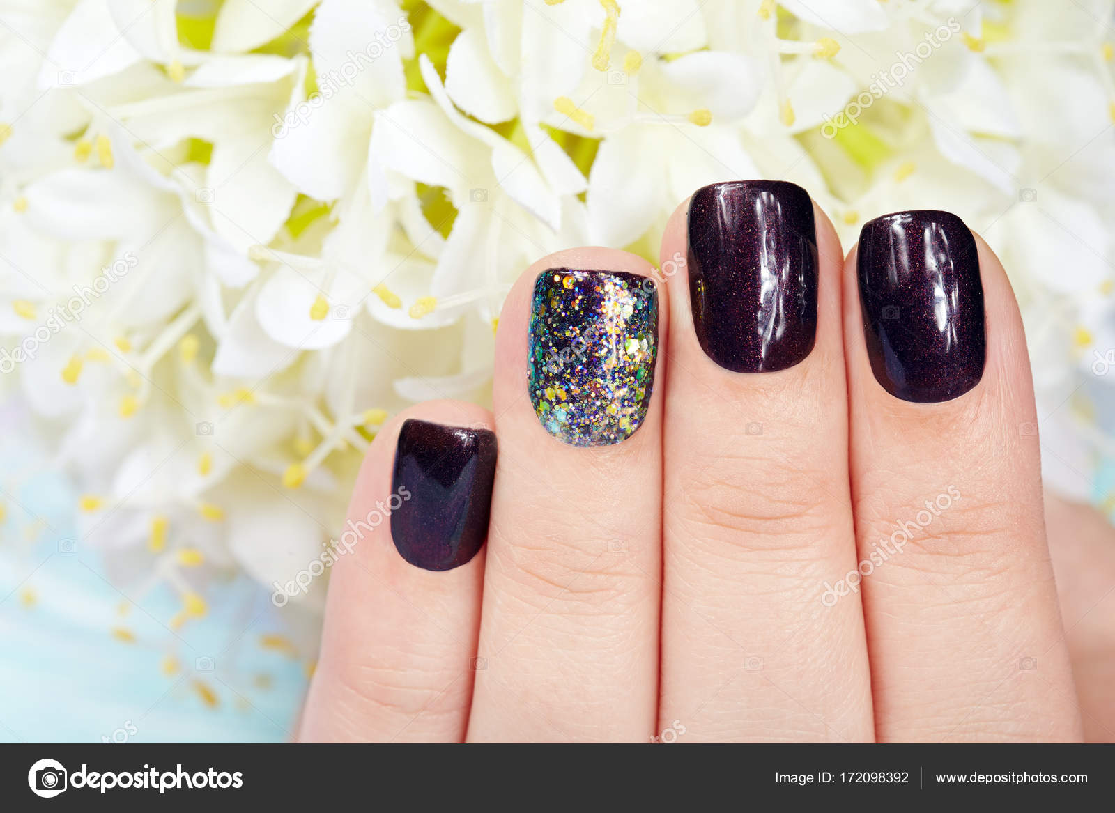 Hand with manicured nails colored with dark purple nail polish ...