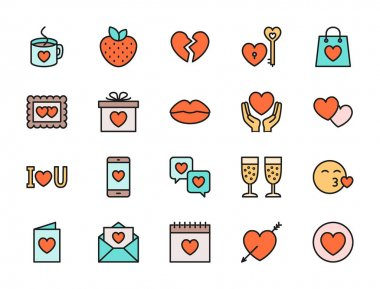 Set of Love and Valentines Day Flat Color Icons. Strawberry, Hearts, Photo Frame, Gift, Messages, Kiss and more. Pack of 48x48 Pixel Icons icon