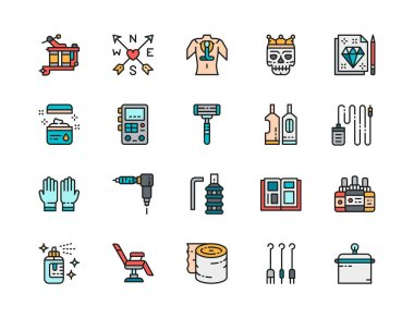 Set of Tattoo Studio Flat Color Line Icons. Tattoo Machine, Vaseline, Power Machine Supply, Disposable Razor, Rubber Gloves, Ink Bottles, Chair, Aftercare Bandage and more. Pack of 48x48 Pixel Icons icon