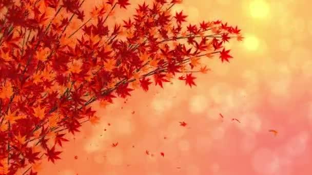 Lehulló vörös levelű ág. Hagyományos őszi levél táj gyönyörű japán elegancia stílusban. Hurokanimáció.