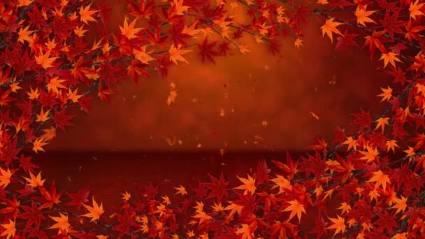 Branch with red leaves in falling. Traditional autumn leaf scenery of beautiful japanese elegance style. Loop animation.