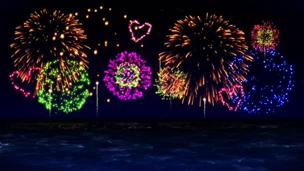 Die Schönheit des Feuerwerks spiegelt sich im Wasser des Sees wider. Ein buntes Feuerwerk erhellt den Himmel. der Blick auf das Feuerwerksfest.