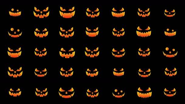 Halloween dýně silueta s různými výrazy. Halloween party pozadí s strašidelné a veselé dýně. Animace smyčky.