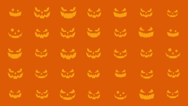 Halloween pumpkin silhouette with various expressions. Halloween party background with spooky and cheerful pumpkins. Loop animation.