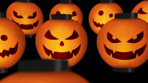 Šťastný Halloween s japonským vzorem. Halloween dýňová lucerna. Japonská kulturní lampa. Symbol Halloweenské dovolené.