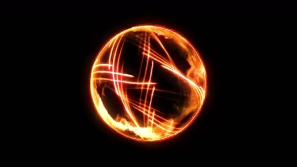 Plazma tűzgolyó lángokkal a fekete háttéren. Gyönyörű fény. Világító vonalak formájában gömb. Cg hurok animáció.