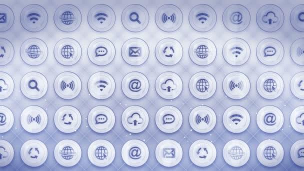 Sada webových ikon. Internetová komunikace pozadí. Různé sbírky ikon pro podnikání. Animace smyčky Cg.