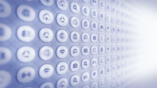 Satz von Web-Symbolen. Internet-Kommunikationshintergrund. verschiedene Sammlung von Symbolen für Unternehmen. cg-Schleifenanimation.