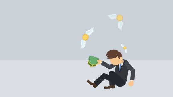 armer Geschäftsmann. Konzept der wirtschaftlichen Ungleichheit. Reichtum und Armut. Loopanimation im Cartoon-Stil.