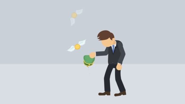 Poor businessman. Business inequality concept. Wealth and Poverty. Cartoon style loop animation.