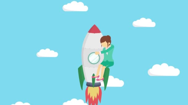 Happy businesswoman flying on rocket through blue sky. Business startup, leap, and entrepreneurship concept. Loop animation style.